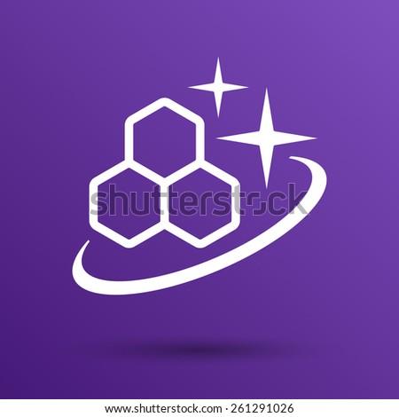 Molecule Icon isolated glossy illustration shiny atom. - stock vector