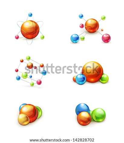 molecule icon vector set - stock vector