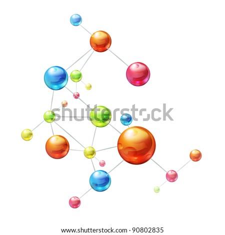 Molecule on white, vector - stock vector