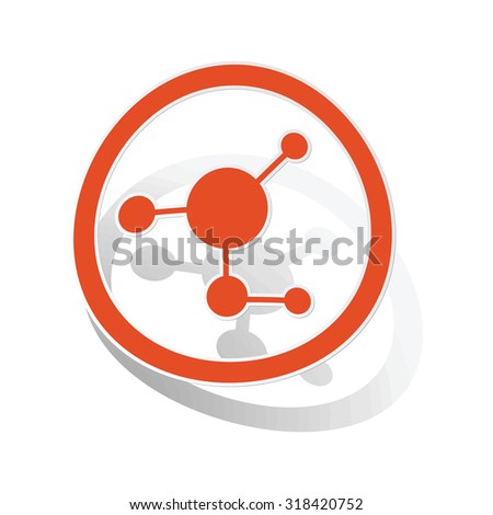 Molecule sign sticker, orange circle with image inside, on white background - stock vector