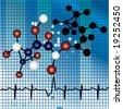 molecule strand over mosaic background - stock photo