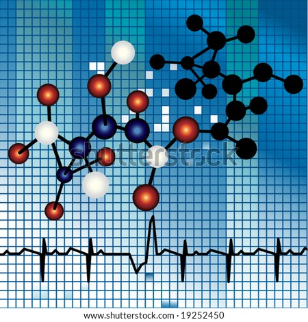 molecule strand over mosaic background - stock vector