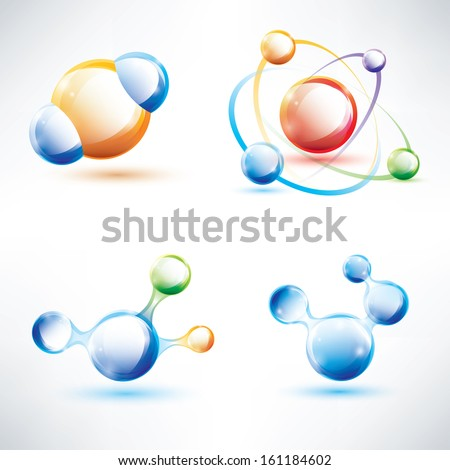 molecule structure, abstract glossy icons set, science and energy concept - stock vector