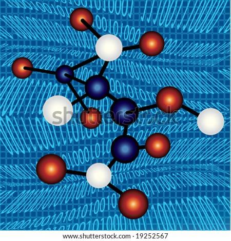 molecules over binary code - stock vector