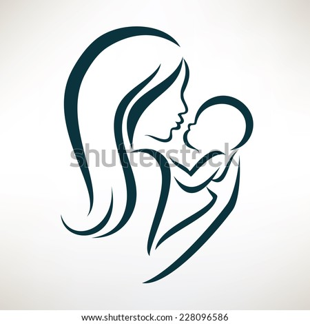 mom and baby stylized vector symbol, outlined sketch - stock vector