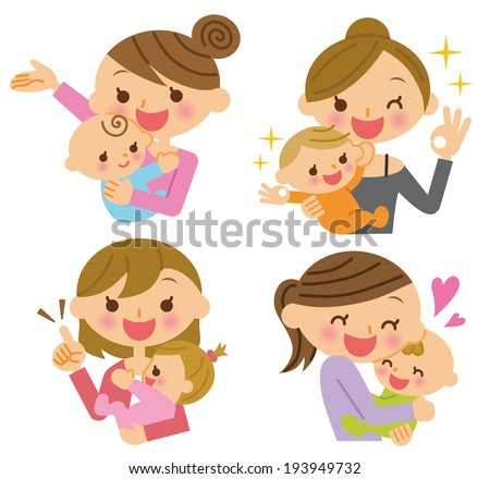 Mom baby - stock vector
