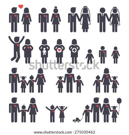 Mom dad boy and girl, happy family black icons set. vector illustration. - stock vector