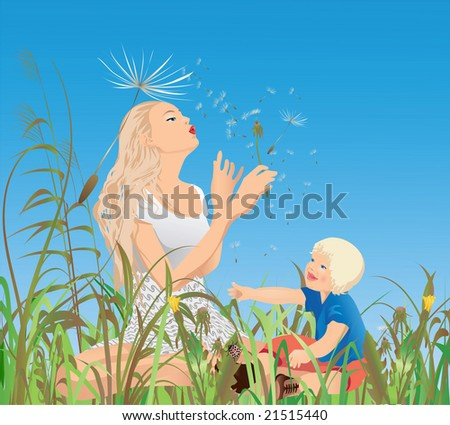 Mom, little-one and the dandelions ; Vector illustration. - stock vector