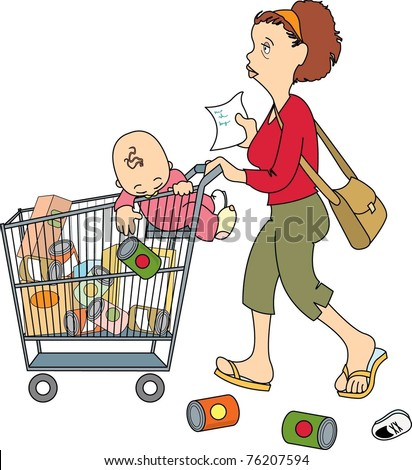 mom shopping with baby (isolated)