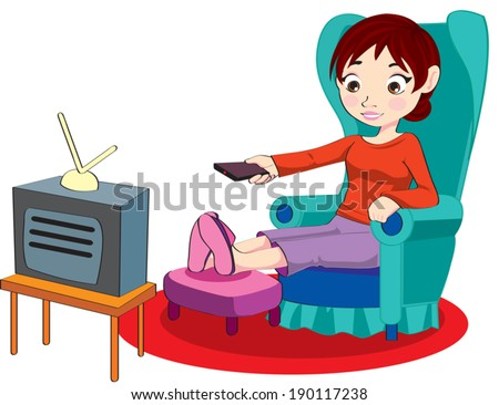 mom sit watch tv stock vector royalty free 190117238 shutterstock