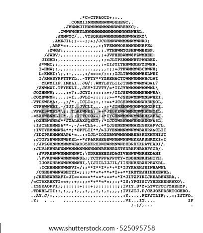 Mona Lisa Stylized Portrait ASCII Art Stock-Vektorgrafik (Lizenzfrei ...