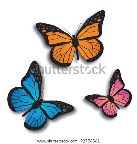 Monarch butterfly  bllue, orange and pink. - stock vector