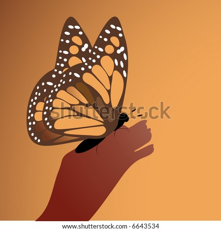 monarch butterfly on person's hand - stock vector