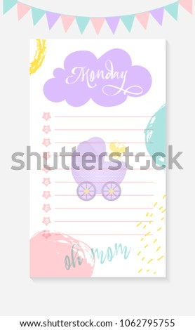 Monday Daily Do List Mother Newborn Stock Vector Royalty Free