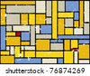 mondrian inspired color background - stock photo