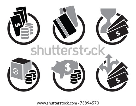 Money and bank icons - stock vector
