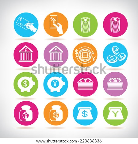money and banking icons, colorful circle buttons set - stock vector