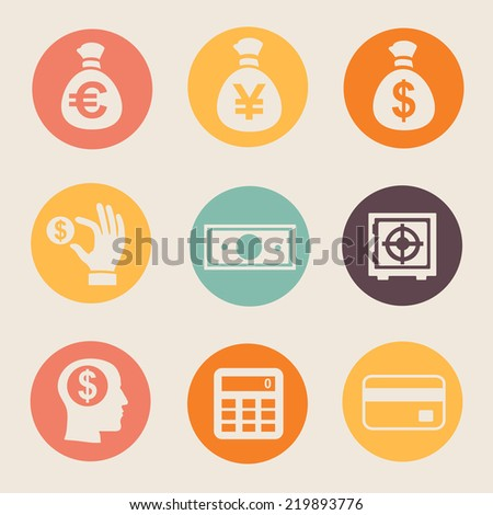 Money and coin icon set   illustration on white flat - stock vector