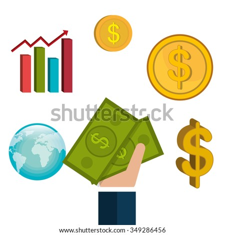 Money and financial market graphic design, vector illustration