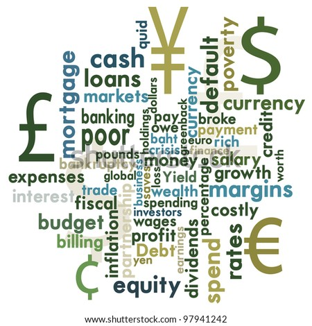 Money and financial word graphic - stock vector