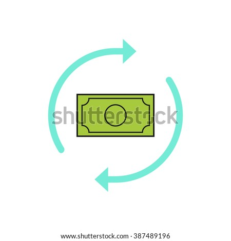 Money arrows vector icon, concept of money exchange, cash convert, conversion, finance, turnover sign, refresh, flat outline style moderns design isolated on white background - stock vector