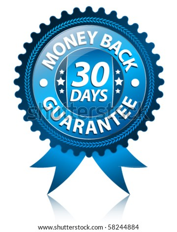 Money back 30 days label - stock vector