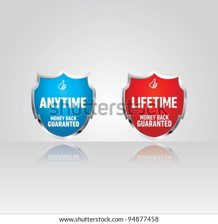 money back guaranted shields - stock vector