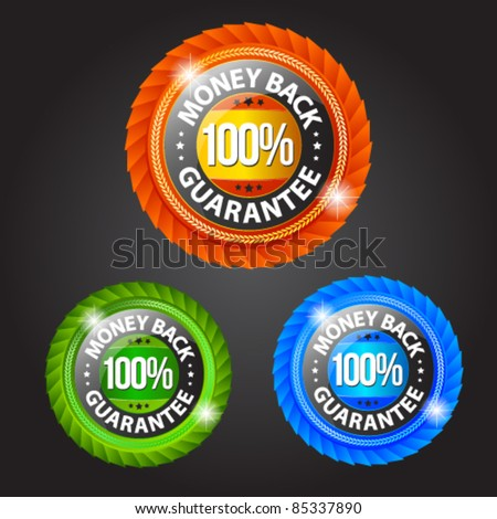 Money back guarantee colorful banners and badges collection - stock vector