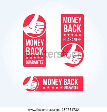 Money Back Guarantee Labels - stock vector