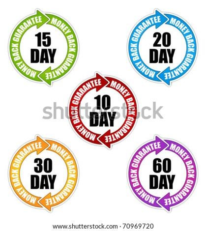 Money back guarantee labels - stock vector