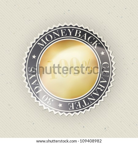 Money back guarantee on paper texture. Vector, EPS10 - stock vector
