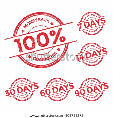 Money back guarantee red stamp set, vector illustration - stock vector
