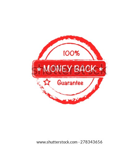 Money back 100 guarantee stamp, vector icon - stock vector