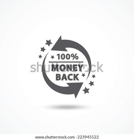 Money back label - stock vector