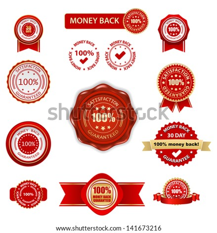 money back labels set - stock vector