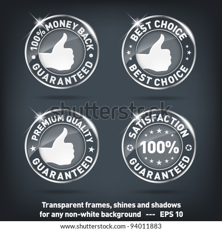 Money back-quality guarantee glass banners-transparent EPS10 - stock vector