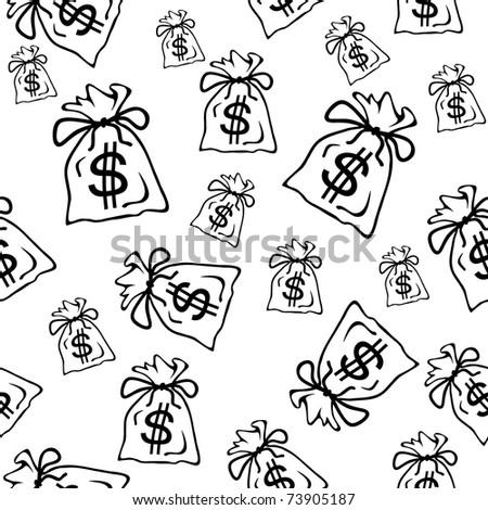 Money bag, black and white seamless vector illustration - stock vector