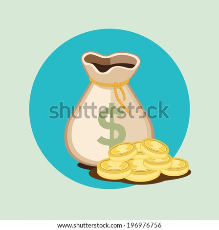 money bag flat icon with golden coins - stock vector