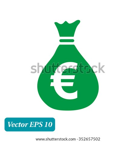 Money bag icon. Euro EUR currency symbol. Flat design style. EPS 10. - stock vector