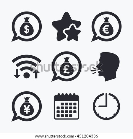 Money bag icons. Dollar, Euro, Pound and Yen speech bubbles symbols. USD, EUR, GBP and JPY currency signs. Wifi internet, favorite stars, calendar and clock. Talking head. Vector - stock vector
