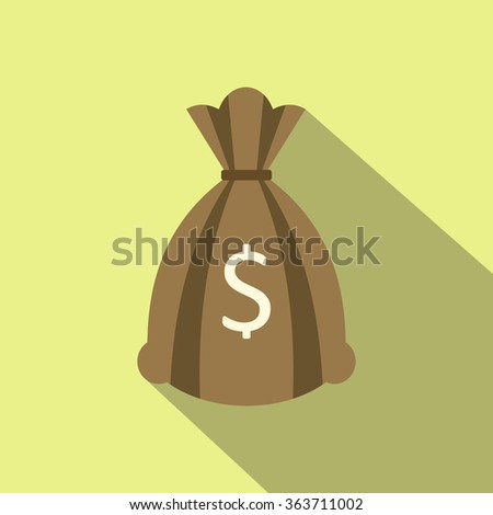 Money bag or sack flat icon on a yellow background - stock vector