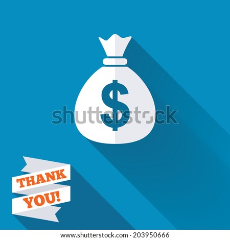 Money bag sign icon. Dollar USD currency symbol. White flat icon with long shadow. Paper ribbon label with Thank you text. Vector - stock vector