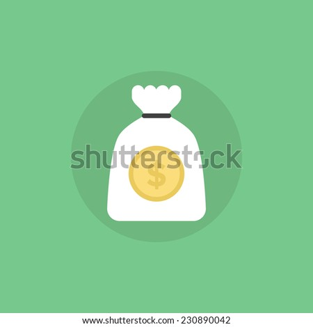Money bag symbolizing funding, sponsorship, investment, wealth, profitable deposit and reliable income. Flat icon modern design style vector illustration concept. - stock vector