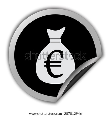 money bag vector icon with euro sign icon - round vector sticker