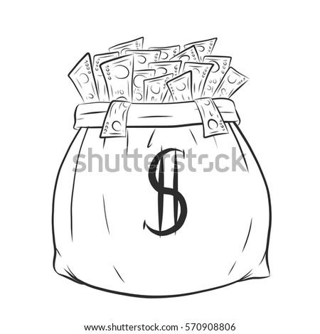 bank note money bag cartoon vector stock vector 197383673