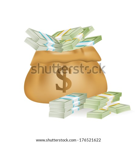 Money bag with dollar sign vector illustration - stock vector