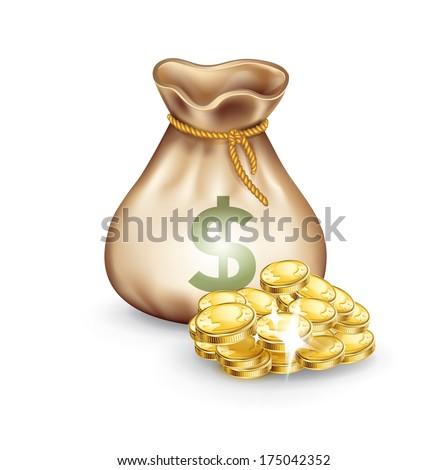 money bag with golden coins on the side isolated on white - stock vector