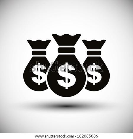 Money bags cash money vector simple single color icon. - stock vector