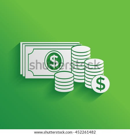 Money banknotes stack and Stack of coins icon with dollar symbol. - stock vector
