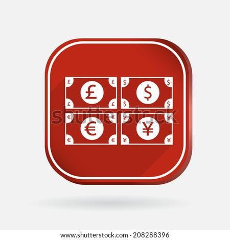 money bill sign.  Color square icon - stock vector